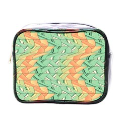 Emerald And Salmon Pattern Mini Toiletries Bags by linceazul