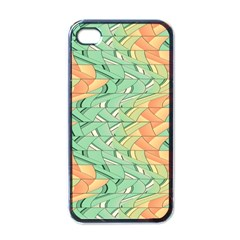 Emerald And Salmon Pattern Apple Iphone 4 Case (black) by linceazul