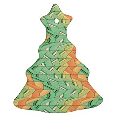 Emerald And Salmon Pattern Ornament (christmas Tree)  by linceazul