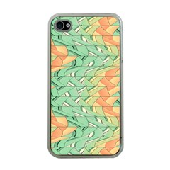 Emerald And Salmon Pattern Apple Iphone 4 Case (clear) by linceazul