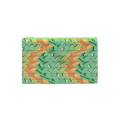 Emerald And Salmon Pattern Cosmetic Bag (xs) by linceazul