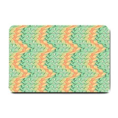 Emerald And Salmon Pattern Small Doormat  by linceazul