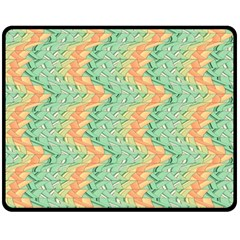 Emerald And Salmon Pattern Fleece Blanket (medium)  by linceazul