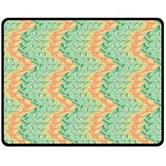 Emerald And Salmon Pattern Double Sided Fleece Blanket (medium)  by linceazul