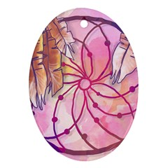 Watercolor Cute Dreamcatcher With Feathers Background Ornament (oval) by TastefulDesigns