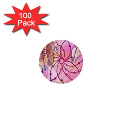 Watercolor Cute Dreamcatcher With Feathers Background 1  Mini Buttons (100 Pack)  by TastefulDesigns
