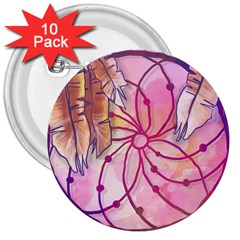 Watercolor Cute Dreamcatcher With Feathers Background 3  Buttons (10 Pack)  by TastefulDesigns