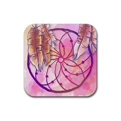 Watercolor Cute Dreamcatcher With Feathers Background Rubber Coaster (square)  by TastefulDesigns