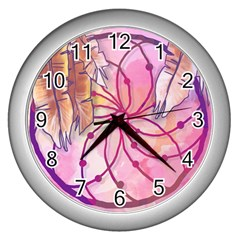 Watercolor Cute Dreamcatcher With Feathers Background Wall Clocks (silver)  by TastefulDesigns