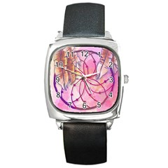 Watercolor Cute Dreamcatcher With Feathers Background Square Metal Watch by TastefulDesigns
