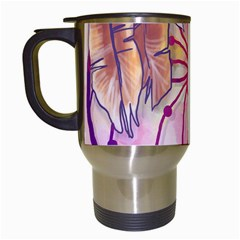 Watercolor Cute Dreamcatcher With Feathers Background Travel Mugs (white) by TastefulDesigns