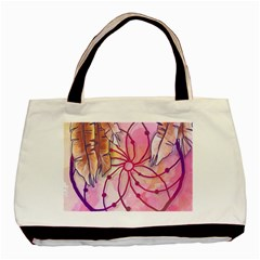 Watercolor Cute Dreamcatcher With Feathers Background Basic Tote Bag by TastefulDesigns