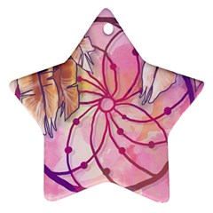 Watercolor Cute Dreamcatcher With Feathers Background Star Ornament (two Sides) by TastefulDesigns