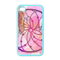 Watercolor Cute Dreamcatcher With Feathers Background Apple Iphone 4 Case (color) by TastefulDesigns