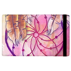 Watercolor Cute Dreamcatcher With Feathers Background Apple Ipad 3/4 Flip Case by TastefulDesigns