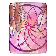 Watercolor Cute Dreamcatcher With Feathers Background Samsung Galaxy Tab 3 (10 1 ) P5200 Hardshell Case  by TastefulDesigns