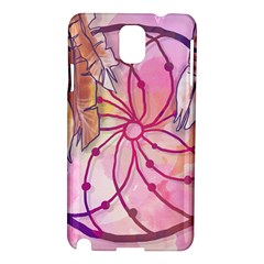 Watercolor Cute Dreamcatcher With Feathers Background Samsung Galaxy Note 3 N9005 Hardshell Case by TastefulDesigns