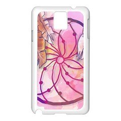 Watercolor Cute Dreamcatcher With Feathers Background Samsung Galaxy Note 3 N9005 Case (white) by TastefulDesigns