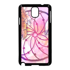 Watercolor Cute Dreamcatcher With Feathers Background Samsung Galaxy Note 3 Neo Hardshell Case (black) by TastefulDesigns