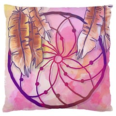 Watercolor Cute Dreamcatcher With Feathers Background Large Flano Cushion Case (two Sides) by TastefulDesigns