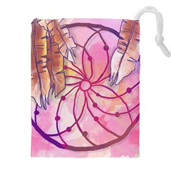 Watercolor Cute Dreamcatcher With Feathers Background Drawstring Pouches (xxl) by TastefulDesigns