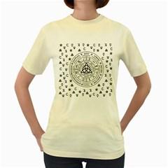 Witchcraft Symbols  Women s Yellow T Shirt by Valentinaart