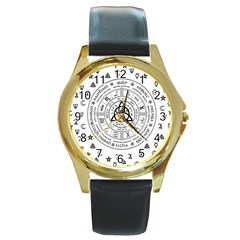 Witchcraft Symbols  Round Gold Metal Watch by Valentinaart