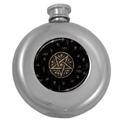 Witchcraft Symbols  Round Hip Flask (5 Oz) by Valentinaart