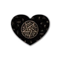 Witchcraft Symbols  Heart Coaster (4 Pack)  by Valentinaart