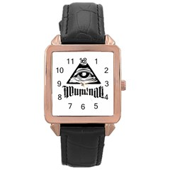Illuminati Rose Gold Leather Watch  by Valentinaart