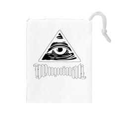 Illuminati Drawstring Pouches (large)  by Valentinaart