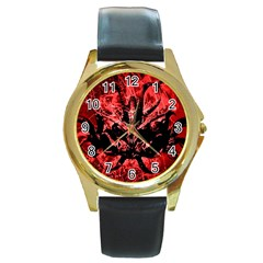Scary Background Round Gold Metal Watch by dflcprints