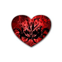 Scary Background Rubber Coaster (heart)  by dflcprints