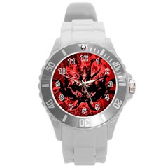 Scary Background Round Plastic Sport Watch (l) by dflcprints