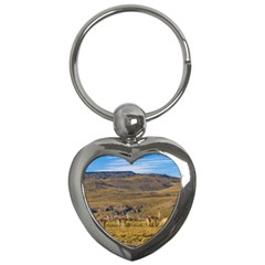 Group Of Vicunas At Patagonian Landscape, Argentina Key Chains (heart)  by dflcprints