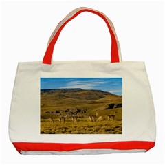 Group Of Vicunas At Patagonian Landscape, Argentina Classic Tote Bag (red) by dflcprints