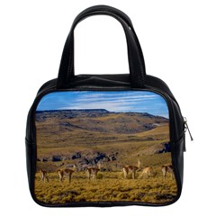 Group Of Vicunas At Patagonian Landscape, Argentina Classic Handbags (2 Sides) by dflcprints