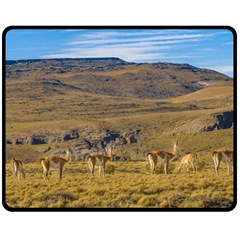 Group Of Vicunas At Patagonian Landscape, Argentina Double Sided Fleece Blanket (medium)  by dflcprints