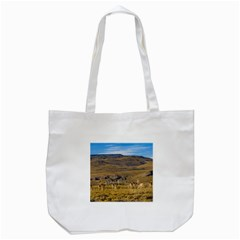 Group Of Vicunas At Patagonian Landscape, Argentina Tote Bag (white) by dflcprints