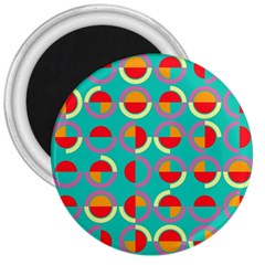 Semicircles And Arcs Pattern 3  Magnets by linceazul