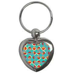 Semicircles And Arcs Pattern Key Chains (heart)  by linceazul