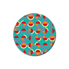 Semicircles And Arcs Pattern Rubber Coaster (round)  by linceazul
