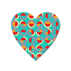 Semicircles And Arcs Pattern Heart Magnet by linceazul