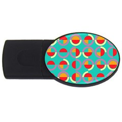 Semicircles And Arcs Pattern Usb Flash Drive Oval (2 Gb) by linceazul