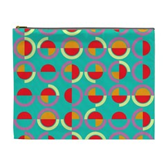 Semicircles And Arcs Pattern Cosmetic Bag (xl) by linceazul