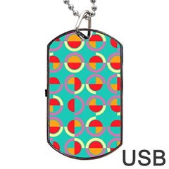 Semicircles And Arcs Pattern Dog Tag Usb Flash (one Side) by linceazul