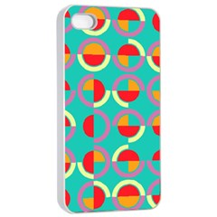 Semicircles And Arcs Pattern Apple Iphone 4/4s Seamless Case (white) by linceazul