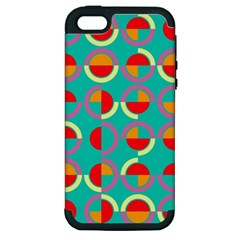 Semicircles And Arcs Pattern Apple Iphone 5 Hardshell Case (pc+silicone) by linceazul
