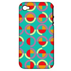 Semicircles And Arcs Pattern Apple Iphone 4/4s Hardshell Case (pc+silicone) by linceazul