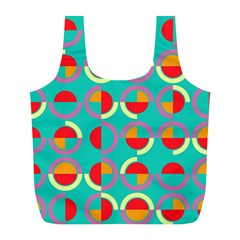Semicircles And Arcs Pattern Full Print Recycle Bags (l)  by linceazul